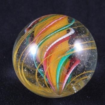 German Tri-layer Yellow Solid Core Swirl Marble - Art Glass