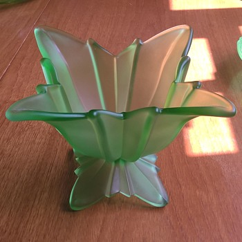 Rosice 2556 Uranium Glass Flower Bowl. - Art Deco