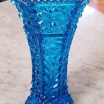 Sapphire  blue EAPG vase  - Glassware