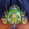 Victorian Vaseline glass whiskey barrel decanter