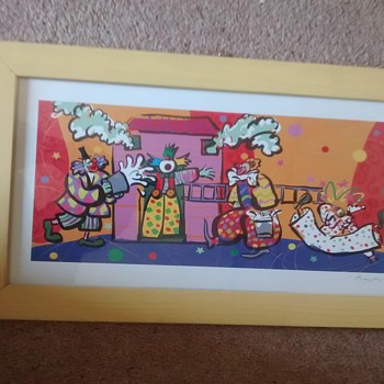 Maptist or Baptist Print of Clowns at a Fake House fire, modern print under plastic glass nice wood frame, - Fine Art