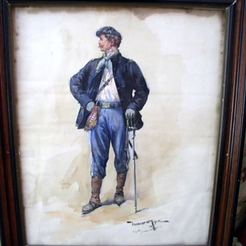 Watercolor of Civil War Soldier - Military and Wartime