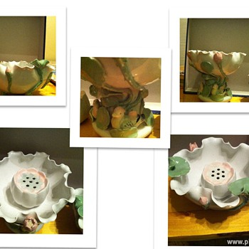 Help Identify these two Lotus Bowls w/Flower Frogs - Pottery