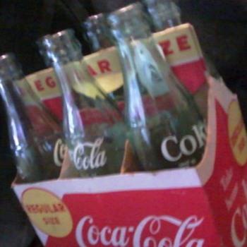 Vintage 6 pack Coca-Cola 6 1/2 oz glass bottle and cardboard carrier