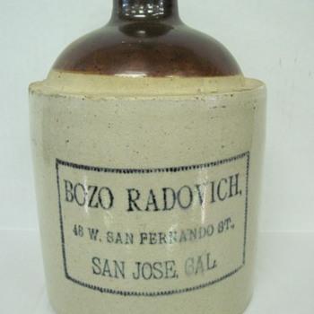 Rare  San Jose Ca. Jug (Bozo Radovich) - Bottles