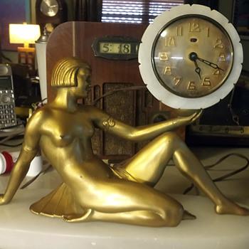 """J. B. Hirsch """"Cleopatra Clock"""" Apres, E. Movier, 1925 - 30 - Art Deco"""