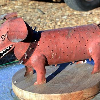 Sheet-metal Fabricated Dogs named 'Spike' - Folk Art