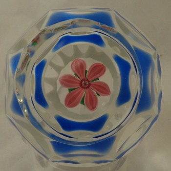Perthshire Paperweight 1980 Encased Double Overlay Pink Flower - Art Glass