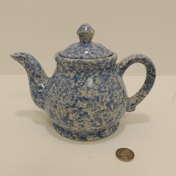 Blue & White Stoneware - Spongeware Teapot - Pottery