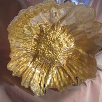 """Large glass gold/white center bowl 12"""" - Art Glass"""