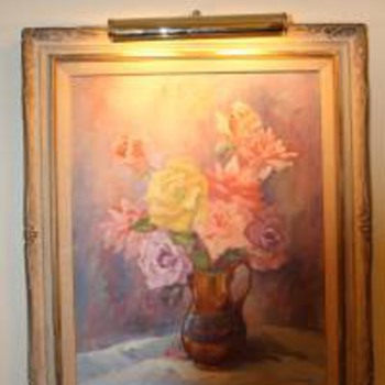 "Mary Jarrett Oil Painting ""Roses and Lustre"" 1965"