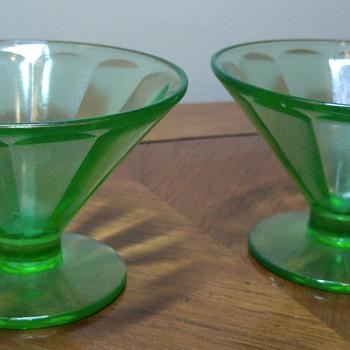 Pair of Uranium Glass Sherbet bowls - Glassware