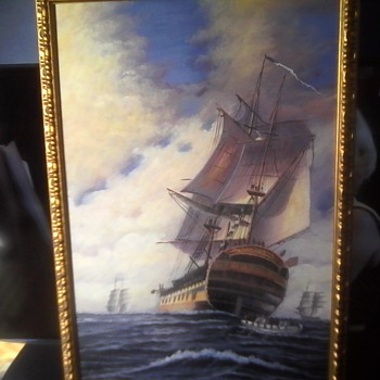 Second Ship Oil On Canvas - Fine Art