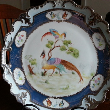 HANDPAINTED PHEASANTS (phoenix) & BUTTERFLIES PLATE - Asian