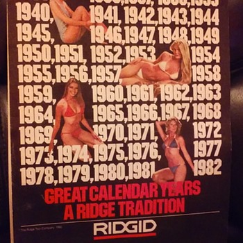 1981-82 RIDGID TOOLS pinup calendar - Advertising