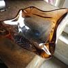 "Murano italian glassware, large brown amber bowl with controlled bubble ""bullicante!"
