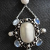 British Arts & Crafts Revivalist Mother of Pearl and Moonstone Necklace, by Amy Sandheim? c. 1920