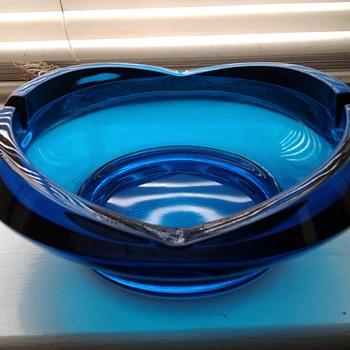 Mid-Century Blue Glass Ashtray - Tobacciana
