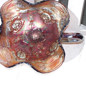 "Fenton ""Wreath of Roses"" bonbon dish c1910 mint condition - Glassware"