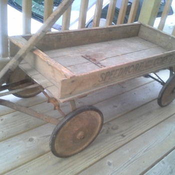 Wood 'Speedmore' Ball Bearing Coaster Wagon Possibly by Belknap Hardware and Manufacturing?