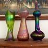 "Rindskopf Trefoil Green Ribbed Iridescent Vase 12.75"""