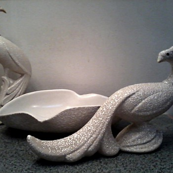 Pheasants and Biomorphic Bowl Centerpiece Set /White Orange Peel Finish/Circa 1950's-60's - Pottery