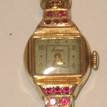 Gold and Ruby Watch 14k by Harman Watch Co.
