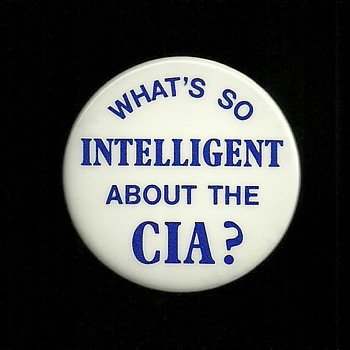 "Rare Abbie Hoffman ""What's so intelligent about the CIA"" Pinback Button"