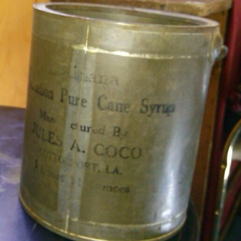 Louisiana plantation pure cane syrup canco tin 1800s - Advertising