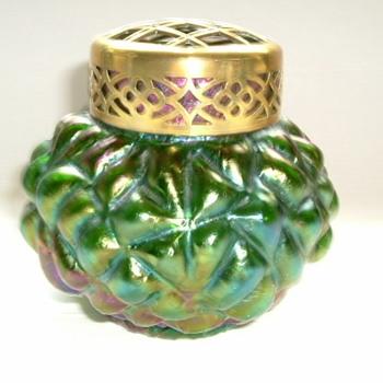 Bohemian Art Nouveau Iridescent Rose Bowl - Art Glass