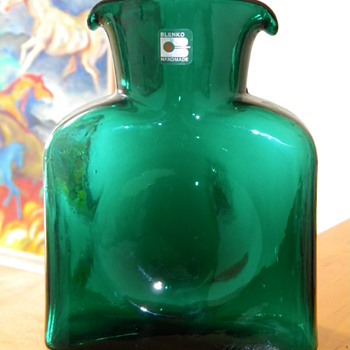 Vintage Mid Century Blenko Double Spout Green Vase  - Art Glass