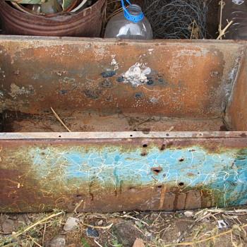 "old enamelware ""cooler"" ? 28x14x11"" deep"