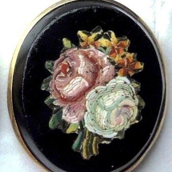Micro Mosaic Onyx flower earrings - Fine Jewelry