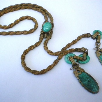 Beautiful Deco, Nouveau? Lariat Glass Necklace - Costume Jewelry