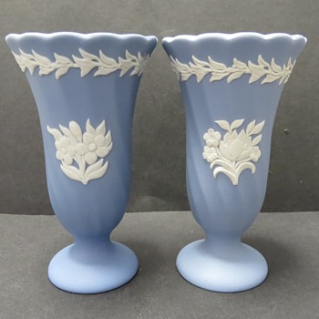 Wedgwood Jasper ware Fluted Vases - China and Dinnerware