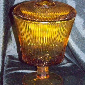 "Depression Glass Candy Dish"" Amber"" - Glassware"