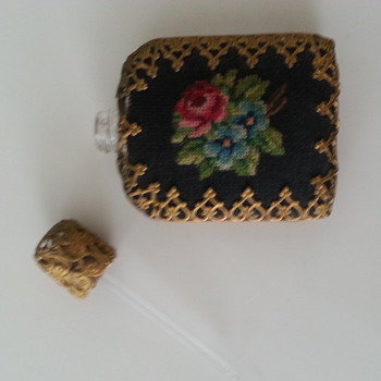 Antique perfume small bottle gold with Black Cloth Flower