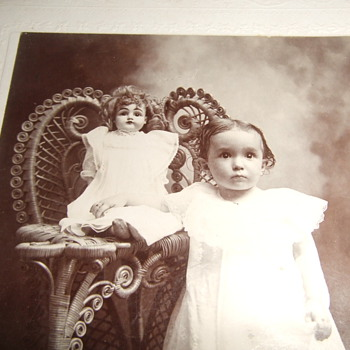 Cabinet card of Southern child with her Doll - Dolls