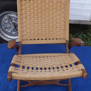 Mid Century Modern Rope Woven Chair Fold up with Arms - Mid-Century Modern