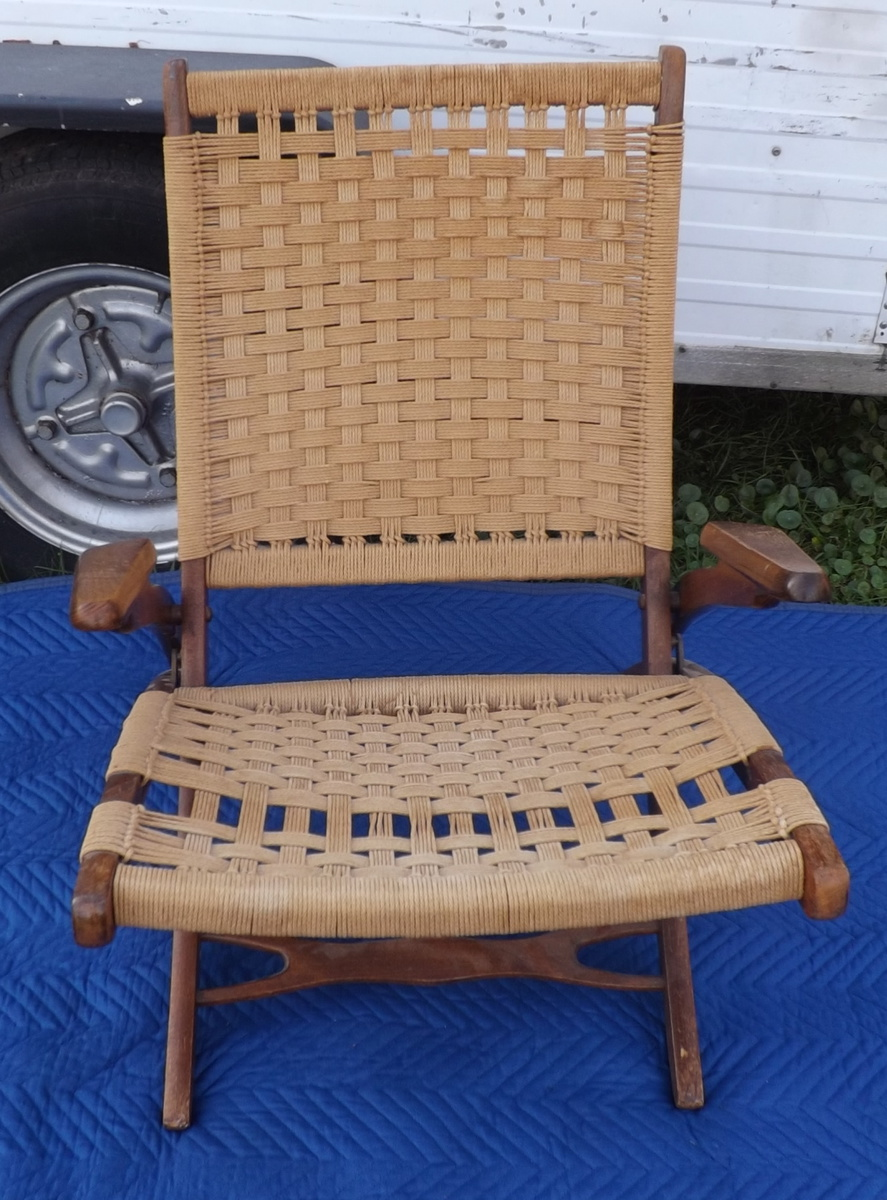 Mid century modern rope woven chair fold up with arms collectors weekly