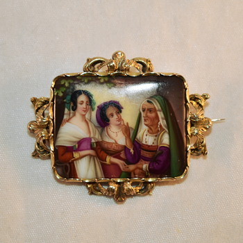 Hand Painted Victorian or Georgian? gold brooch; anyone recognise the painting? - Fine Art