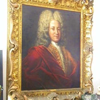 Antique Sir Isaac Newton Original Oil Painting by Godfrey Kneller W/Orig Frame 1690's - Furniture