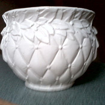 Incredible McCoy Matte White Diamond Quilt Pattern Jardiniere #48  / Circa 1950's or earlier - Pottery