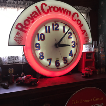 "Electric Neon Clock ""Royal Crown Cola"" theme made in Cleveland, Ohio - Clocks"