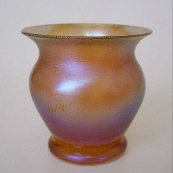 Iridescent Gold Vase Unmarked - Art Glass