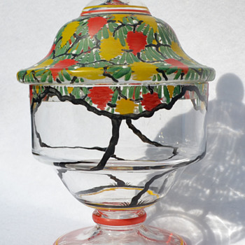 Czech enamel decorated candy jar - Art Glass