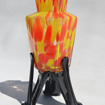Welz yellow and orange spatter  - Art Glass