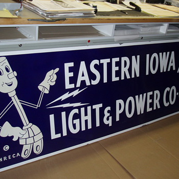 Willie Wiredhand Eastern Iowa Light and Power Porcelain Co-op Sign - Signs