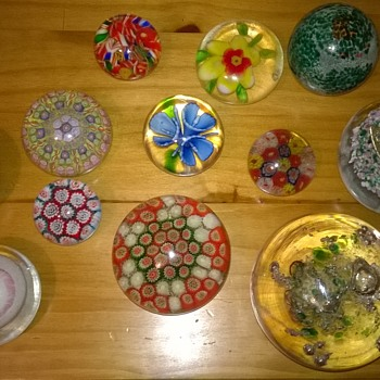My collection of mixed glass paperweights