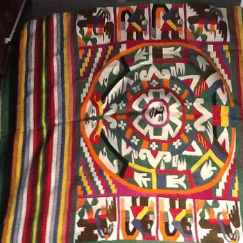 Indian (Native American) blanket: strange figures--like pictographs